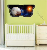 90cm Space Ship Window Instant View PLANET PLUTO #1 SPACESHIP Wall Graphic Kids Sticker Baby Room Decal Home Mural Art Décor MEDIUM
