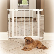 Baby Gate Walk Thru with Swing Door in White - Pressure Mount Safety for Doorways or Hallway is Best for Pets, Babies and Dogs - Portable Design for Indoor or Outdoor Use