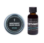 Skyline Beard Bundle (30ml beard oil & 60ml balm) - Fresh sage & vanilla scent. All-natural beard sculpting product for medium to large beards; conditions & softens.