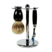 3 pieces Ebony shaving set with Silvertip brush and Fusion Razor handle