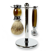 3 Piece Kaliandee Shaving Set With Silvertip Brush In Chrome And Horn, Fiore Razor, And Chrome Stand