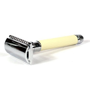 Edwin Jagger DE87 Safety Razor with Ivory Colour Rubber Coated Handle