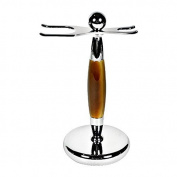 Kaliandee Brush and Razor Stand in Chrome and Imitation Horn