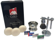 GBS Gift Set - Comes with Gift Box - Merkur 33C Safety Razor, Pure Badger Shaving Brush, Brush and Razor Stand, Chrome Bowl, 3 Pack of GBS Shaving Soap, and 25 Blades!