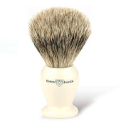 Edwin Jagger English Shaving Brush, best badger with imitation ivory handle