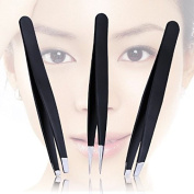 ShineMore Professional Eyebrow Tweezers Kit Slant & Point & Flat Tweezers (3PCs) With Leather Case