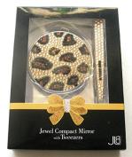 Jewel Compact Mirror & Tweezers Animal Print Design