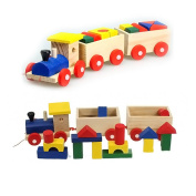 Stacking Train, Yamix Wooden Stacking Blocks Stacking Pull Toys Three Section Pull Along Train with Building Blocks Children Baby Educational Toys 1Pack