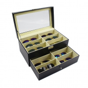 Daisy Jewellery 12 Grids Double-Layer Black PU Leather Organiser Sunglass Display Case Eyewear Storage Box Organiser Collector, 1 Yr Warranty