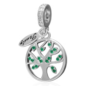 SoulBeads Sterling Silver Family Tree of Life Dangling Bead Charm with Green CZ Fits Pandora Charms Bracelet