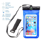 MCUK Universal Waterproof Case for iPhone 6S, 6 Plus, 5S,Galaxy S6, Note 4, LG G4 - Best Water Proof, Dustproof, Snowproof Pouch Bag - Includes FREE Armband + Compass + Lanyard