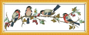 YEESAM ART® New Cross Stitch Kits Advanced Patterns for Beginners Kids Adults - Bullfinches 11 CT Stamped 68x25 cm - DIY Needlework Wedding Christmas Gifts