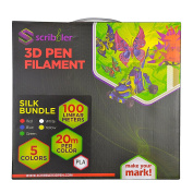 Scribbler 3D Pen PLA Based Silk-Like Filament Refills for 3D Drawing Pen | Premium Quality, Durable PLA Based Silk Material| 330 Linear Feet For Endless Doodles| 5 Different Colours