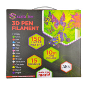 Scribbler 3D Pen ABS Filament Refills for 3D Drawing Pen | Premium Quality, Durable ABS Glowing Material| 500 Linear Feet For Endless Doodles| 15 Different Colours