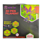 Scribbler 3D Pen PLA Based Bright Filament Refills for 3D Drawing Pen | Premium Quality, Durable PLA Based Bright Material| 500 Linear Feet For Endless Doodles| 5 Different Colours