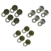 15-pack Waistband Extender - Spring Button with 3 Engraved Designs - Elastic with Sturdy Spring