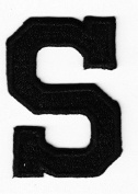"""LETTERS - BLACK BLOCK LETTER """"S"""" (4.8cm ) - Iron On Embroidered Applique Patch"""