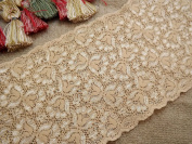 15 Yards Soft Embroidered Tan Nude Floral Stretch Picot Edge Lace 13cm Wide