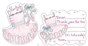 Girls Ballerina Tutu Dress Fill-In Party Invitations Die Cut (8) with Coordinating Thank You Cards (8) Bundle