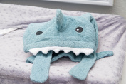 HopTiger Animal Face Hooded Towel – Blue Shark