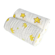 Muslin Swaddle Blankets, Mukin 100% Cotton Organic Baby Receiving Blanket-Ultra Soft & Super Cute - Oversized 110cm x 110cm (Twinkle Star Print OR White)