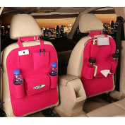 M'Baby Car Back Seat Organiser Woollen Felt Seat Pocket Protector Storage for Bottle, Tissue Box, Toys
