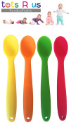 Tots R Us 4 Pack Soft Baby Weaning Spoons. Easy Grip Silicone Bendable Tips. Supports Baby Led Weaning Self Feeding, Encourages Independent baby and toddler feeding