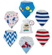 Baby Bandana Drool Bibs For Boys | TPU Leakproof Premium Absorbent 6 Pack Bib Set 100% Organic Cotton | From Tiny Captain