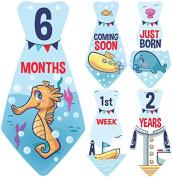"""NEW! Original Stick'Nsnap (TM) 18 Baby Monthly Necktie Onesie Stickers - """"Under The Rainbow Sea"""" (TM). Marine, Nautical theme, Milestones for 12 Months +6 bonus Milestones - Best Baby Shower Gifts!"""