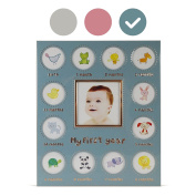 Baby's My First Year Picture Frame - Available In 3 Colours - Silver/Blue/Pink - Larger Collage Picture Openings