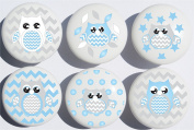Blue Owl Drawer Pulls / Owl Ceramic Nursery Drawer Knobs, Set of 6