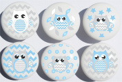 Blue Owl Drawer Pulls / Owl Ceramic Nursery Drawer Knobs, Set of 6