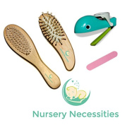 "#1 Best Baby Grooming Kit - Premium Wooden Brushes & 'Nail Whale' Nail Clipper & File Set for Babies, Toddlers & Children - ""Eats"" Nail Clippings!"