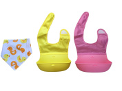 MadisonRose Silicone Roll-Up Bibs with Comfort-Fit Fabric Neck, Pink/Yellow