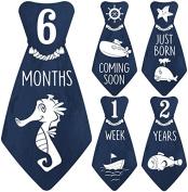 """NEW! Original Stick'Nsnap (TM) 18 Baby Monthly Necktie Onesie Stickers - """"Under The Blue Sea"""" (TM). Marine, Nautical theme, Milestones for 12 Months +6 bonus Milestones - Best Baby Shower Gifts!"""