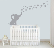MAFENT One lovely Elephant Blowing Bubbles Wall Decal Vinyl Wall Sticker for Baby Nursery and Kids Room Wall Stickers .Finish size:130cm x 80cm