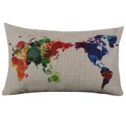 Ikevan® Burlap Linen World Map Decorative Cushion Cover Pillow Case(30cm x 50cm )