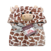 Ashdown Baby Flannel Blanket Bathrobe Cute Animals Wrap Blanket Bath Towel for bathing,outdoor,sleep,Brown Giraffe