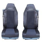 2 x Car Seat Covers - Black Heavy Duty Truck Volvo FL FE FM FH12 FH16