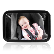 iRegro Baby Safety Mirror, Large Rear view mirror for rearward facing child seat Fits any adjustable headrest ,Tilt and turn function, 100% shatterproof