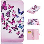 Sony Xperia X Leather Case [with Free Tempered Glass Screen Protector],W-Pigcase Coloured Drawing or Pattern PU Leather Case with Exquisite Design and Comfortable Feelling for Sony Xperia X -butterfly