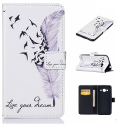 Samsung Galaxy J3 (2016) Leather Case [with Free Tempered Glass Screen Protector],W-Pigcase Coloured Drawing or Pattern PU Leather Case with Exquisite Design and Comfortable Feelling for Samsung Galaxy J3 (2016) -feather