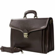 Exclusive Italian Leather Briefcase / Business bag Foggia Brown