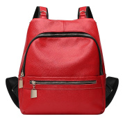 SAIERLONG New Womens Red Genuine Leather Daily Casual Backpack
