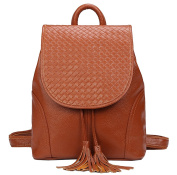 SAIERLONG New Womens Brown Genuine Leather Daily Casual Backpack