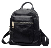 SAIERLONG New Womens Black Genuine Leather Daily Casual Backpack