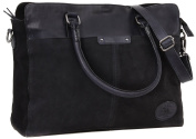 Gusti Leder studio Genuine Leather Ladies Bowling Shoulder Shopper Handbag Smart Vintage Accessory Goatskin & Suede Dark Grey/Black 2H63-29-14