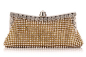 New Gold Satin Sparkly Diamante Evening Bag Party Wedding Purse