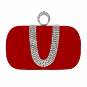 BigForest Handmade Ring Diamond Beaded Pearl Crystal Clutch Bag Bridal Evening Handbags Wedding Party Prom bag red