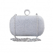 BigForest Women Handmade Ring Diamond Crystal Pearl Clutch Bags Evening Handbag Prom Bags Silver